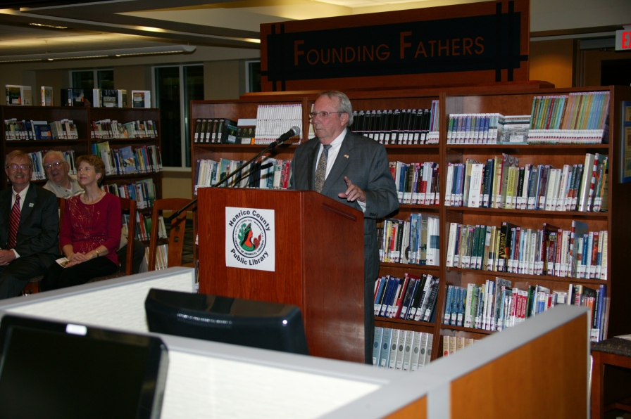 Supervisor Dick Glover speaking at 201 reopening