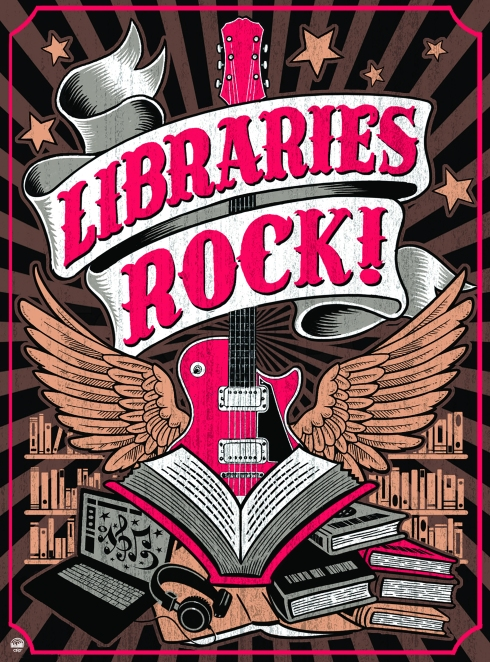 """Libraries Rock!"" on banner over an electric guitar sitting on a pile of books."