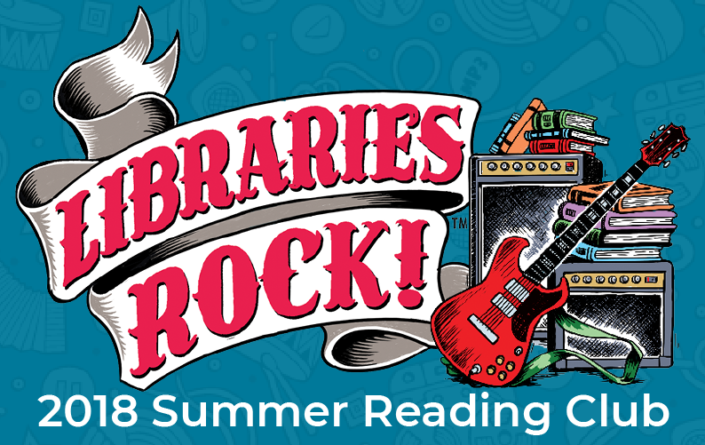 """Libraries Rock"" on ribbon banner with guitar, amps, and books to the right. ""2018 Summer Reading Club"" underneath."